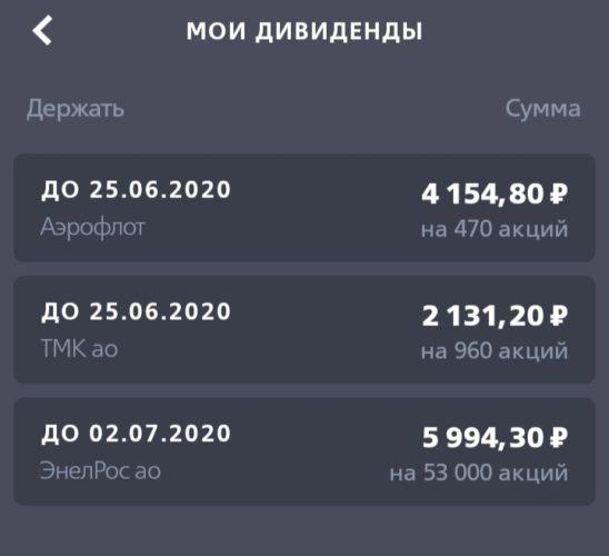 дивиденды 25 неделя 2019